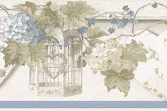 4186 cikkszámú tapéta.Barokk-klasszikus,virágmintás,barna,kék,szürke,zöld,súrolható,vlies bordűr