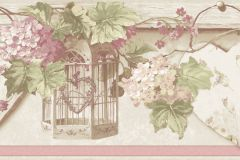4187 cikkszámú tapéta.Barokk-klasszikus,virágmintás,barna,pink-rózsaszín,piros-bordó,zöld,súrolható,vlies bordűr