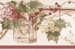 4188 cikkszámú tapéta.Barokk-klasszikus,virágmintás,barna,bézs-drapp,piros-bordó,vajszínű,zöld,súrolható,vlies bordűr
