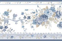 4191 cikkszámú tapéta.Barokk-klasszikus,virágmintás,barna,fehér,kék,súrolható,vlies bordűr