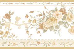 4192 cikkszámú tapéta.Barokk-klasszikus,virágmintás,barna,bézs-drapp,fehér,szürke,zöld,súrolható,vlies bordűr