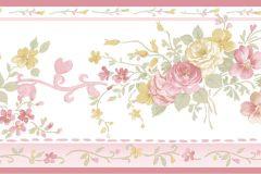 4193 cikkszámú tapéta.Barokk-klasszikus,virágmintás,pink-rózsaszín,sárga,vajszínű,zöld,súrolható,vlies bordűr