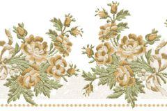 4195 cikkszámú tapéta.Barokk-klasszikus,virágmintás,arany,barna,zöld,súrolható,vlies bordűr