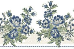 4196 cikkszámú tapéta.Barokk-klasszikus,virágmintás,fehér,kék,zöld,súrolható,vlies bordűr