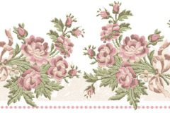 4197 cikkszámú tapéta.Barokk-klasszikus,virágmintás,bézs-drapp,fehér,pink-rózsaszín,piros-bordó,zöld,súrolható,vlies bordűr