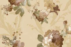 1203 cikkszámú tapéta.Barokk-klasszikus,virágmintás,arany,barna,bézs-drapp,sárga,zöld,súrolható,papír tapéta