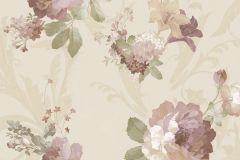 1205 cikkszámú tapéta.Barokk-klasszikus,virágmintás,barna,bézs-drapp,fehér,vajszín,zöld,súrolható,papír tapéta