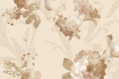 1207 cikkszámú tapéta.Barokk-klasszikus,virágmintás,barna,bézs-drapp,fehér,vajszín,súrolható,papír tapéta