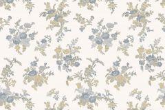 1216 cikkszámú tapéta.Barokk-klasszikus,virágmintás,arany,bézs-drapp,fehér,kék,súrolható,papír tapéta