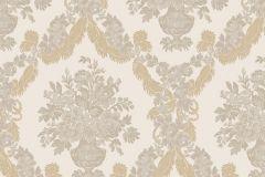 1221 cikkszámú tapéta.Barokk-klasszikus,virágmintás,barna,bézs-drapp,fehér,szürke,súrolható,papír tapéta