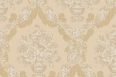 1222 cikkszámú tapéta.Barokk-klasszikus,virágmintás,arany,barna,bézs-drapp,súrolható,papír tapéta