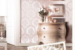 1214 cikkszámú tapéta.Barokk-klasszikus,virágmintás,arany,bézs-drapp,gyöngyház,pink-rózsaszín,súrolható,papír tapéta