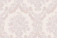 1224 cikkszámú tapéta.Barokk-klasszikus,virágmintás,bézs-drapp,fehér,pink-rózsaszín,súrolható,papír tapéta