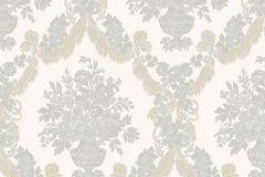 1226 cikkszámú tapéta.Barokk-klasszikus,virágmintás,arany,fehér,kék,szürke,súrolható,papír tapéta