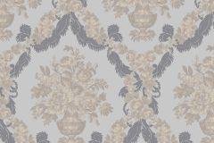 1227 cikkszámú tapéta.Barokk-klasszikus,virágmintás,arany,kék,lila,szürke,súrolható,papír tapéta