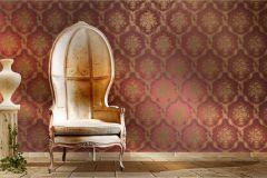 1228 cikkszámú tapéta.Barokk-klasszikus,virágmintás,arany,piros-bordó,súrolható,papír tapéta