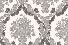 1229 cikkszámú tapéta.Barokk-klasszikus,virágmintás,fehér,szürke,súrolható,papír tapéta