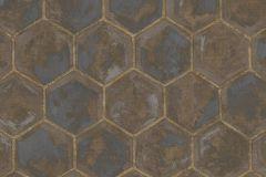 7607 cikkszámú tapéta.Geometriai mintás,különleges motívumos,arany,barna,kék,súrolható,vlies tapéta