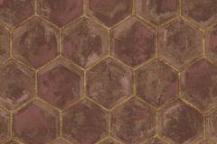7608 cikkszámú tapéta.Geometriai mintás,különleges motívumos,arany,barna,piros-bordó,súrolható,vlies tapéta