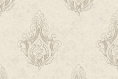 7611 cikkszámú tapéta.Barokk-klasszikus,különleges motívumos,textil hatású,szürke,vajszín,súrolható,vlies tapéta