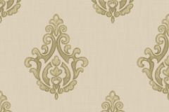 7613 cikkszámú tapéta.Barokk-klasszikus,textil hatású,arany,vajszín,zöld,súrolható,vlies tapéta