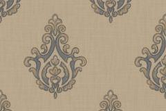 7617 cikkszámú tapéta.Barokk-klasszikus,textil hatású,barna,bézs-drapp,kék,súrolható,vlies tapéta