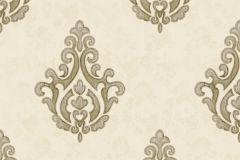7619 cikkszámú tapéta.Barokk-klasszikus,textil hatású,arany,barna,bézs-drapp,vajszín,súrolható,vlies tapéta