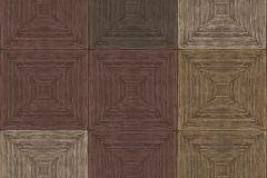 7658 cikkszámú tapéta.3d hatású,geometriai mintás,kockás,textil hatású,barna,piros-bordó,szürke,súrolható,vlies tapéta