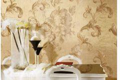 8823 cikkszámú tapéta.Barokk-klasszikus,virágmintás,arany,barna,súrolható,vlies tapéta