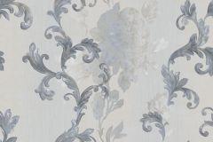 8826 cikkszámú tapéta.Barokk-klasszikus,virágmintás,bézs-drapp,kék,szürke,súrolható,vlies tapéta