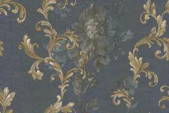 8827 cikkszámú tapéta.Barokk-klasszikus,virágmintás,arany,kék,szürke,súrolható,vlies tapéta