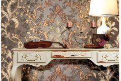 8829 cikkszámú tapéta.Barokk-klasszikus,virágmintás,arany,barna,súrolható,vlies tapéta