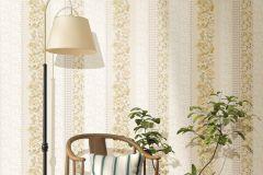 2535 cikkszámú tapéta.Barokk-klasszikus,csíkos,kockás,virágmintás,arany,bézs-drapp,fehér,zöld,gyengén mosható,illesztés mentes,papír tapéta