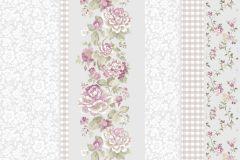 2537 cikkszámú tapéta.Barokk-klasszikus,kockás,virágmintás,fehér,lila,pink-rózsaszín,zöld,gyengén mosható,illesztés mentes,papír tapéta