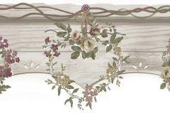 2588 cikkszámú tapéta.Barokk-klasszikus,virágmintás,barna,bézs-drapp,piros-bordó,zöld,gyengén mosható,papír bordűr