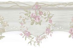 2590 cikkszámú tapéta.Barokk-klasszikus,virágmintás,bézs-drapp,pink-rózsaszín,szürke,zöld,gyengén mosható,papír bordűr