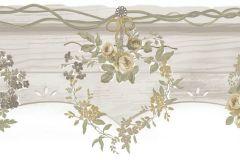 2592 cikkszámú tapéta.Barokk-klasszikus,virágmintás,fehér,sárga,szürke,zöld,gyengén mosható,papír bordűr
