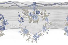 2594 cikkszámú tapéta.Barokk-klasszikus,virágmintás,fehér,kék,szürke,gyengén mosható,papír bordűr