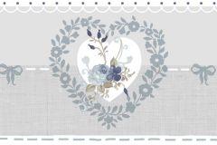 2596 cikkszámú tapéta.Virágmintás,bézs-drapp,fehér,kék,gyengén mosható,papír bordűr