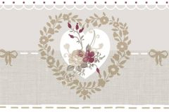 2598 cikkszámú tapéta.Barokk-klasszikus,virágmintás,bézs-drapp,fehér,piros-bordó,gyengén mosható,papír bordűr