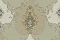 3305 cikkszámú tapéta.Barokk-klasszikus,csillámos,textil hatású,arany,zöld,súrolható,vlies tapéta