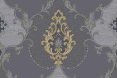3307 cikkszámú tapéta.Barokk-klasszikus,csillámos,textil hatású,kék,szürke,súrolható,vlies tapéta