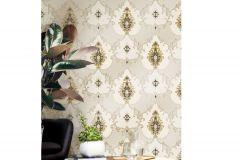 3309 cikkszámú tapéta.Barokk-klasszikus,csillámos,textil hatású,arany,bézs-drapp,szürke,súrolható,vlies tapéta