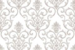3310 cikkszámú tapéta.Barokk-klasszikus,textil hatású,fehér,szürke,súrolható,vlies tapéta