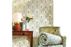 3315 cikkszámú tapéta.Barokk-klasszikus,textil hatású,arany,fehér,vajszín,zöld,súrolható,vlies tapéta
