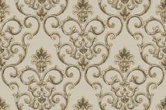 3318 cikkszámú tapéta.Barokk-klasszikus,csillámos,textil hatású,arany,barna,bézs-drapp,súrolható,vlies tapéta