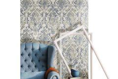3337 cikkszámú tapéta.Barokk-klasszikus,textil hatású,barna,bézs-drapp,kék,súrolható,vlies tapéta