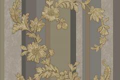 3349 cikkszámú tapéta.Barokk-klasszikus,csíkos,csillámos,természeti mintás,textil hatású,virágmintás,arany,barna,szürke,súrolható,vlies tapéta