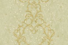 7113 cikkszámú tapéta.Barokk-klasszikus,különleges motívumos,természeti mintás,textil hatású,textilmintás,virágmintás,arany,bézs-drapp,ezüst,vajszínű,zöld,súrolható,vlies tapéta