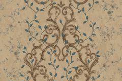 7116 cikkszámú tapéta.Barokk-klasszikus,különleges motívumos,természeti mintás,textil hatású,textilmintás,virágmintás,arany,barna,bézs-drapp,sárga,vajszínű,zöld,súrolható,vlies tapéta